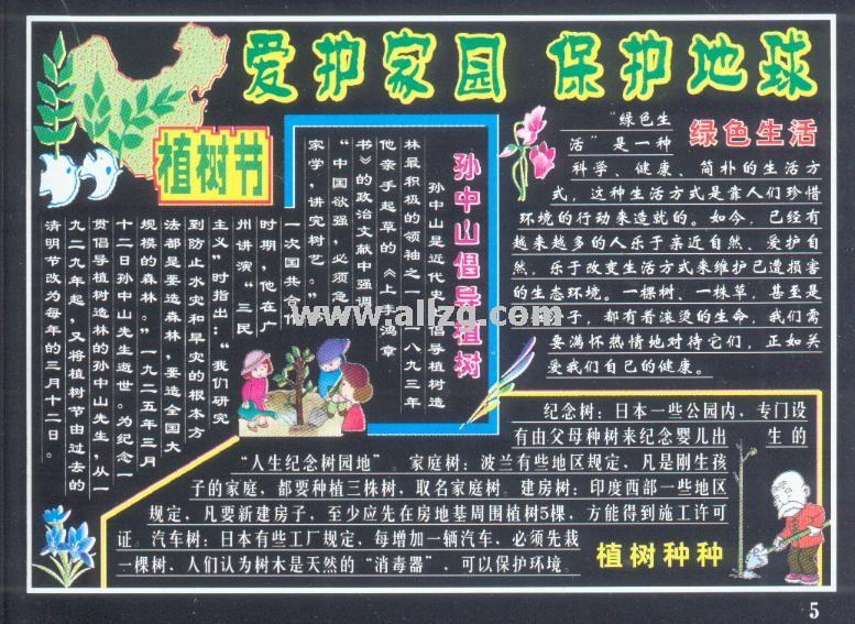 2017年成都植树节小学黑板报(九)