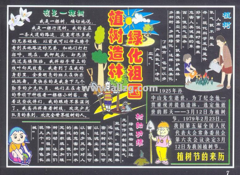 2017年成都植樹節小學黑板報(七)