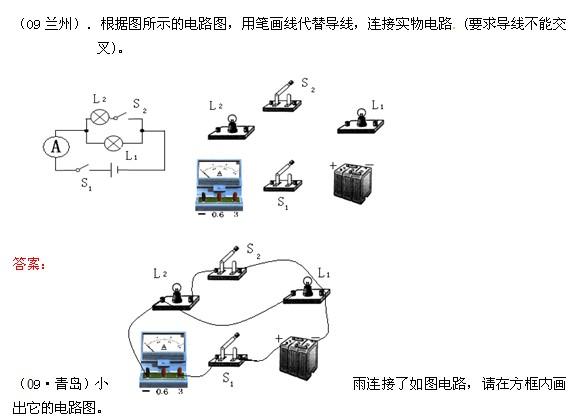 初三物理电学知识练习题:电路图与实物图的转换(2)