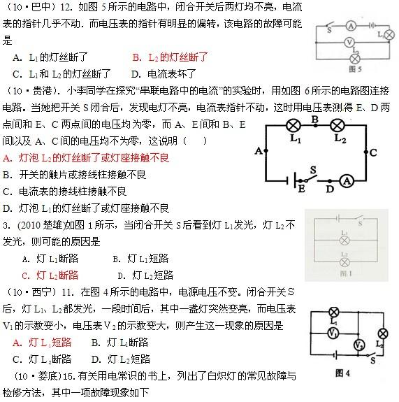 初三物理电学知识练习题:电路故障分析(3)