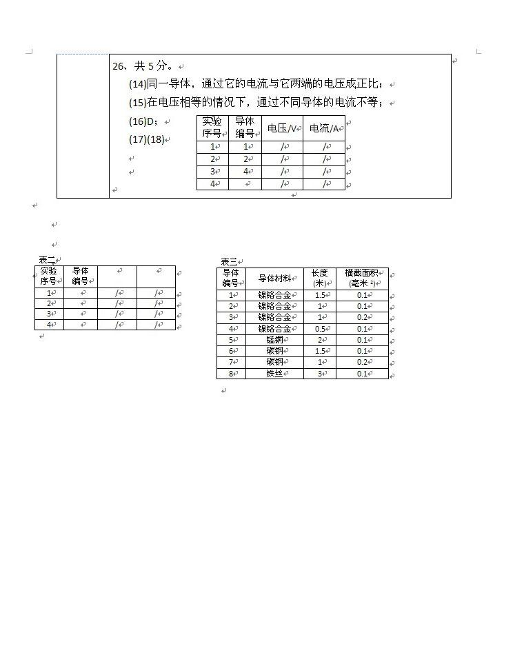 上海浦东新区2014年中考一模(即期末)物理试题及答案