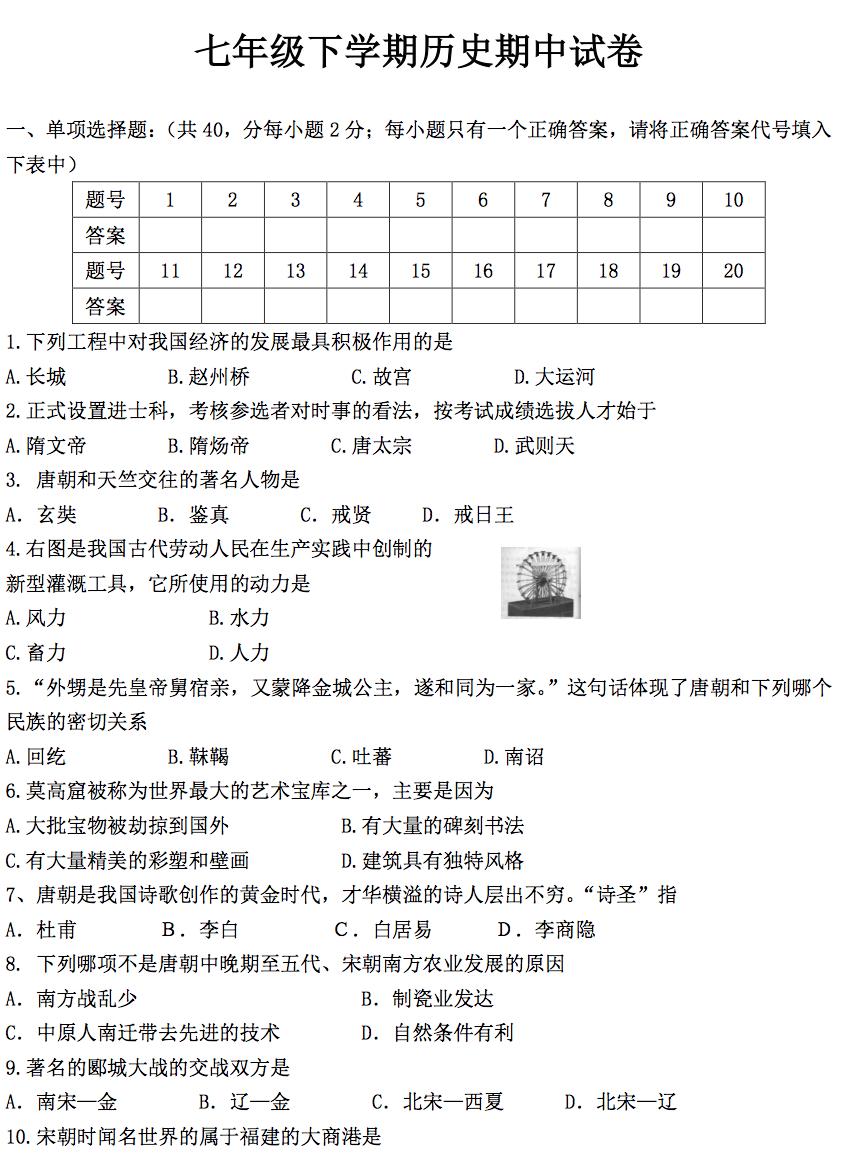 初一历史测试题_初一下册历史复习_捏游