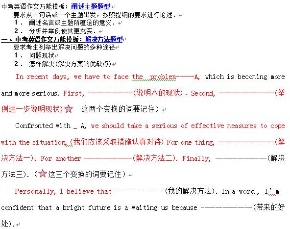 北京初中英语作文模板