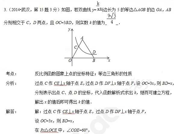 深圳中考数学复习知识点:反比例函数填空题解析