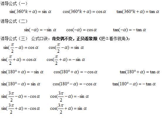 三角函数的诱导高中知识点所有-数学高中必修总结虞城几公式图片