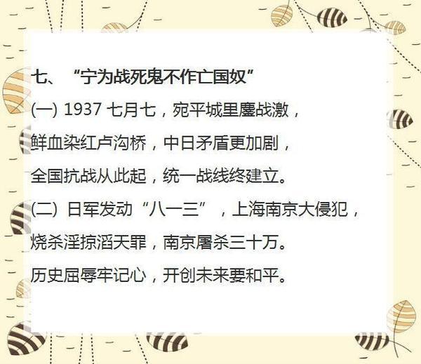 初中历史知识点:宁为战死鬼不作亡国奴