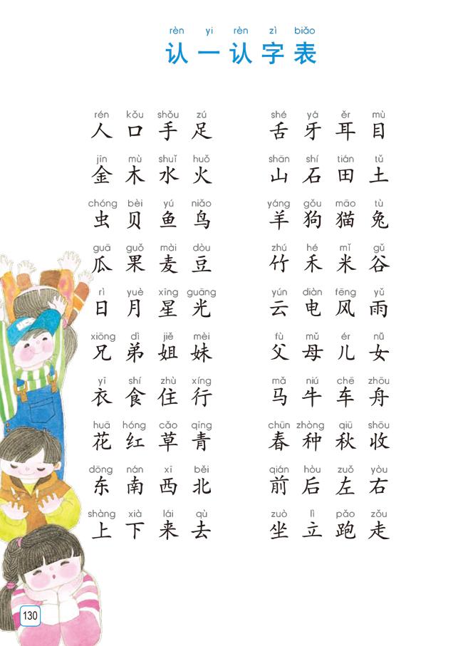 苏教版一年级语文上册生字表