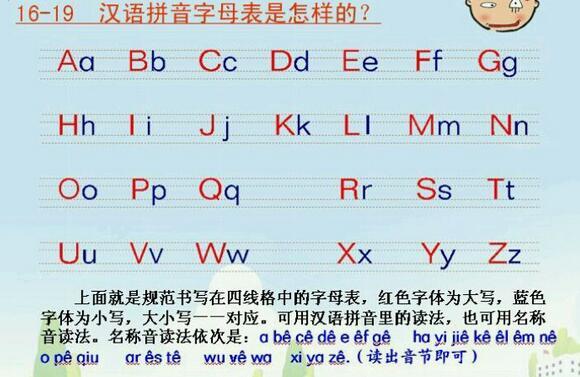 小学拼音字母书写图片