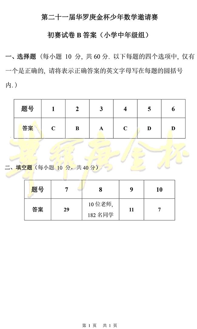 21届华罗庚金杯少年数学邀请赛小学中年级组初赛试题答案