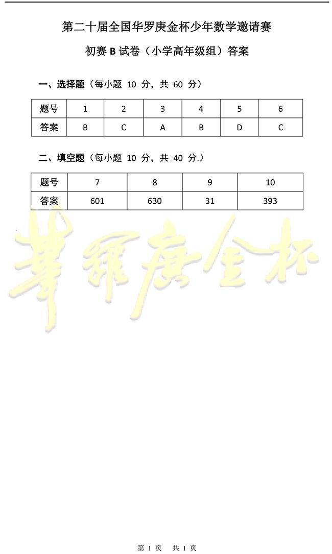 20届华罗庚金杯少年数学邀请赛小学高年级组初赛试题答案