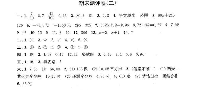 2016-2017苏教版五年级上册数学期末模拟试卷