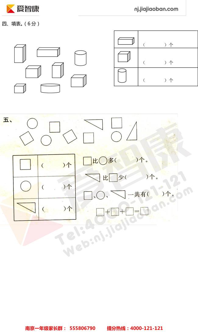物体一数学年级(上)小学知识点整理-认识单元(小学华泾群图片