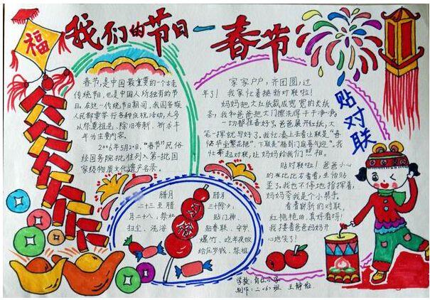 下图是康康老师为大家提供的关于春节的小学生手抄报内容,包括春节的
