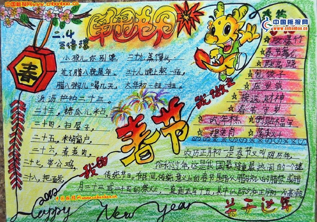 手抄报的主要内容:春节的由来,春节的习俗,舞狮的简介,福的传说,春节