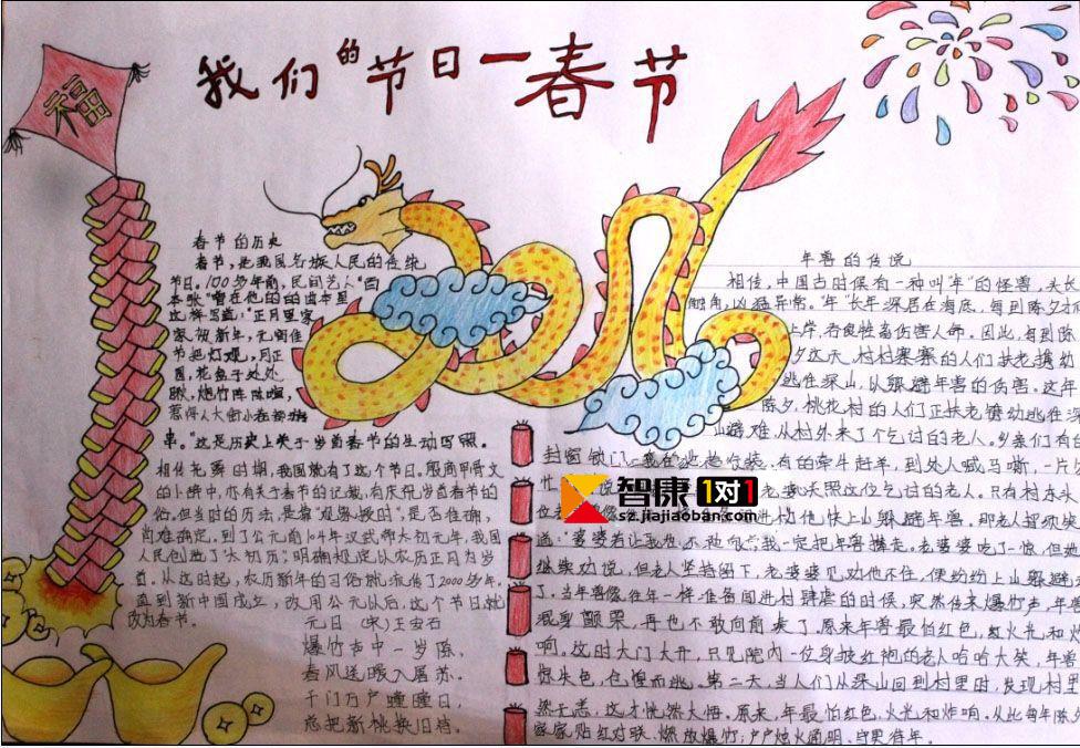 2017年小学生春节手抄报图片大全_深圳智康1对1