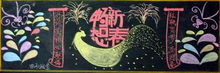 幼儿园新年祝福黑板报图片