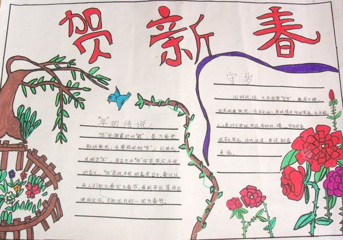 杭州初中春节手抄报(三)