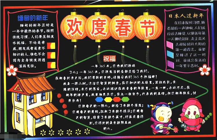 杭州初中春节黑板报 一