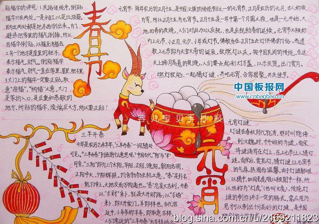 小报图片,元宵节手抄报众多以农历正月十五元宵节为主题进行设计和