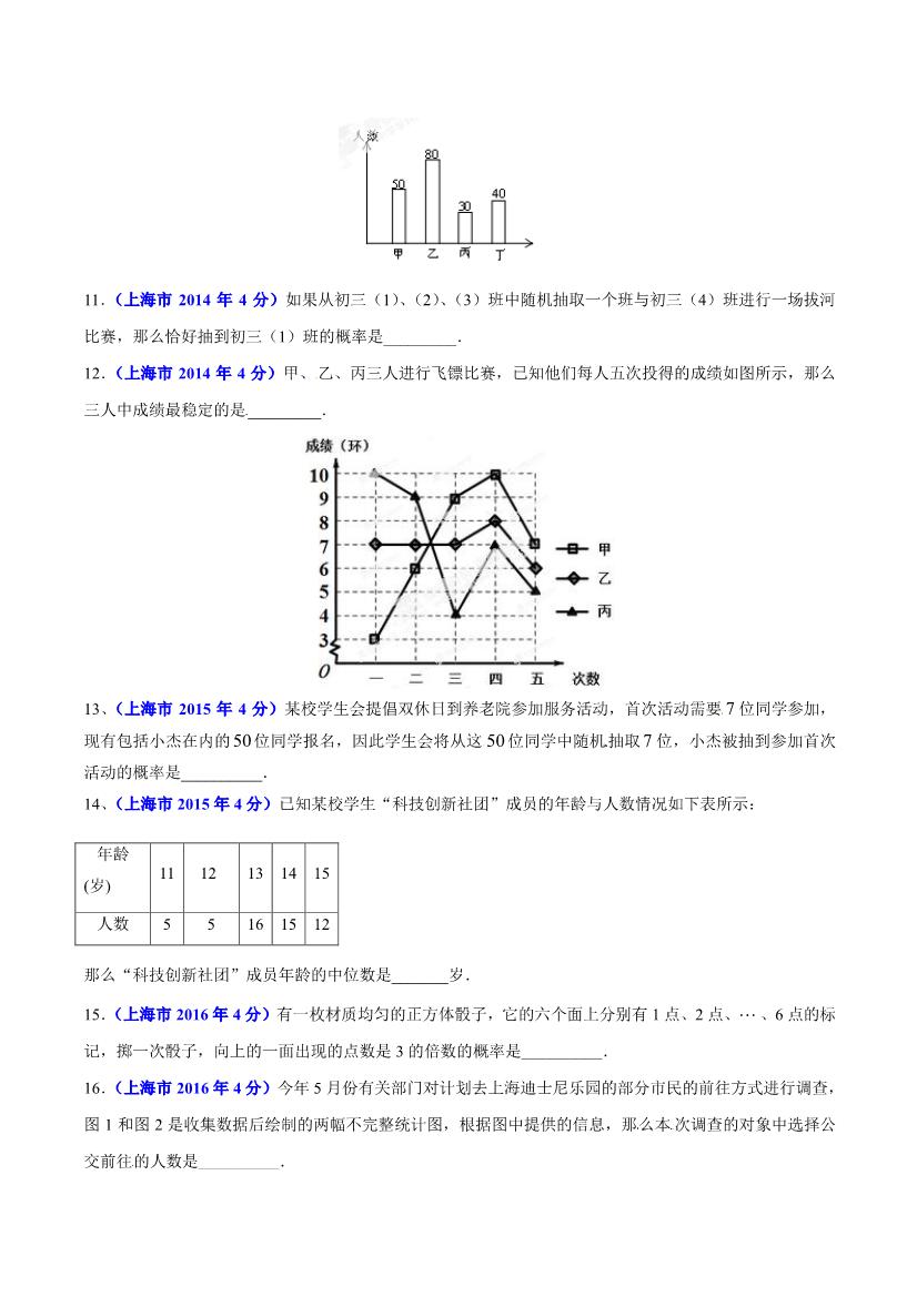 历年上海中考数学统计与概率考点试题